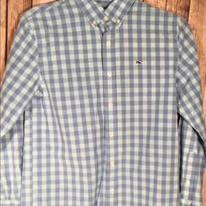 Vineyard Vines Boys West Cay Gingham Whale Shirt